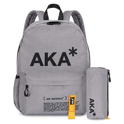 AKA* Brixton Backpack - Grey Waterproof School Bag with Laptop Compartment & Free Pencil Case - Designer Schoolbag