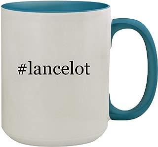 #lancelot - 15oz Hashtag Ceramic Inner & Handle Colored Coffee Mug, Light Blue