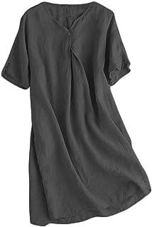 Women's Linen Tunic Dresses V-Neck Baggy Midi Dress Hi-Low Tops