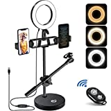 6' Ring Light, EJT Multifunction(Dual Phone Holders, Microphone Stand) Dimmable LED Selfie Ring Light for Live Delivery/TikTok/YouTube Short Video