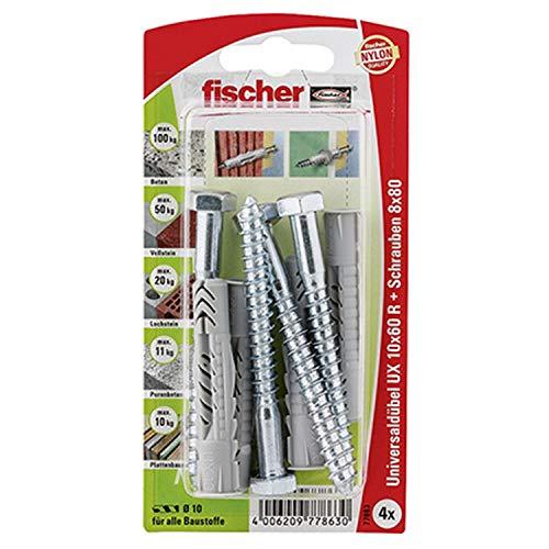 Fischer 77863 Universaldübel UX 10X60 R S K + Schrauben