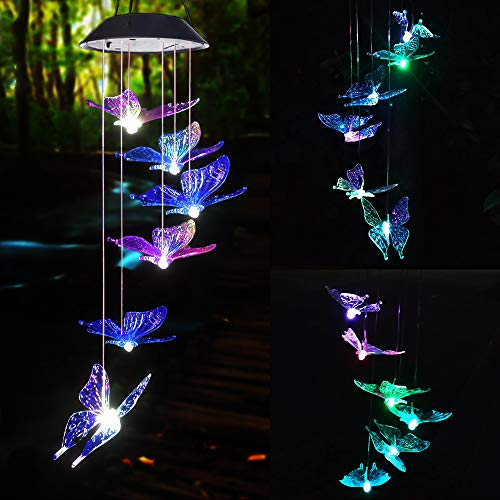 Ahtliay Solar Butterfly Wind Chimes Color Changing LED Mobile Wind Chime Waterproof Outdoor Decorative Garden Gifts for Mom Garden Decor Solar Butterfly
