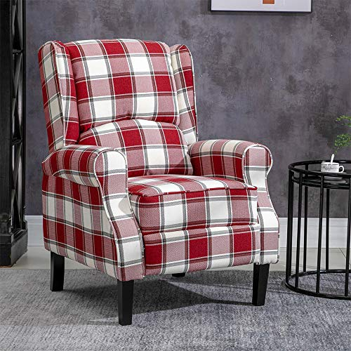 HUISEN furniture Living Room Recliner Armchair Sofa Chair Fabric Upholstered Wing Back with Arms TV Single Sofa Chairs Lounge Bedroom Home Cinema Gaming (Red Tartan)