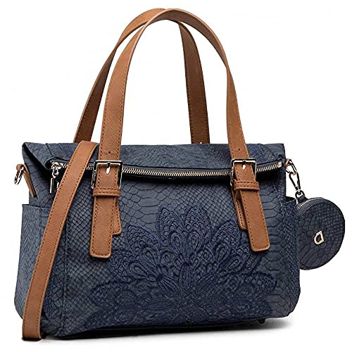Desigual PU Hand Bag, Handbag Femme, Bleu, Taille...