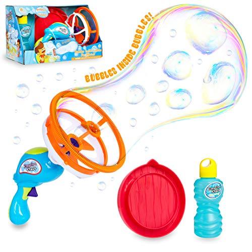 KreativeKraft Pomperos para Niños, Maquina Pompas de Jabon, Pistola Juguete CREA Burbujas Gigantes, Incluye Liquido Pompas de Jabon, Juegos de Agua para Jardin, Regalos para Niños