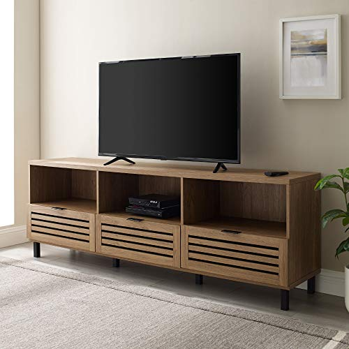 """Walker Edison Modern Slatted Wood 80"""" Universal TV Stand for Flat Screen Living Room Storage Cabinets and Shelves Entertainment Center, 70 Inch, English Oak"""