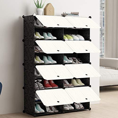 EBTOOLS Zapatero con 4 niveles y 8 compartimentos, sistema de estantería de plástico, para manualidades, zapatero, estantes con puerta plegable para tacones y botas, 30 x 40 cm