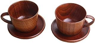KagoMsa 木製マグカップ ペア おしゃれ 天然木 木製カップ コースター 茶托 セット テイーカップ ギフト 木の器 コーヒー お茶 お酒 軽い 子 恋人 夫婦 カップル