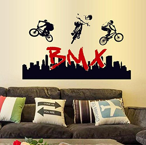 Wandaufkleber Stunt Fahrrad Silhouette,Hevoiok Modern Dekor Abnehmbar BMX Wohnkultur Wandtattoo Aufkleber Wall Decals Tapete für Wohnzimmer Ornament Schlafzimmer (Schwarzer)
