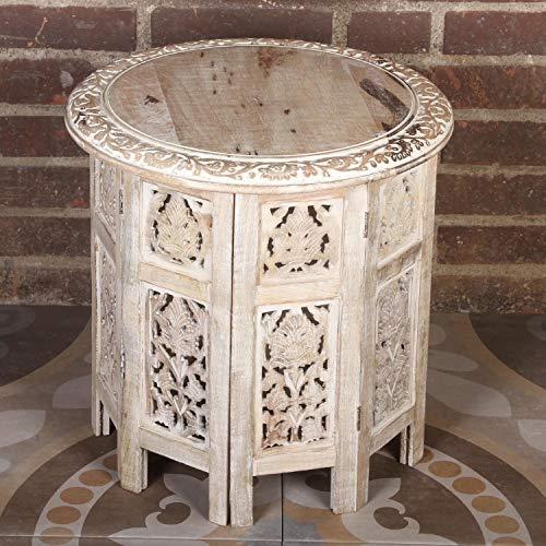Casa Moro Orientalischer Beistelltisch Nassiba 46x46x46 cm (B/T/H) rund in Shabby weiß aus Massivholz Mango geschnitzt | Kunsthandwerk aus Marrakesch | Vintage Sofatisch Couchtisch | NH09204