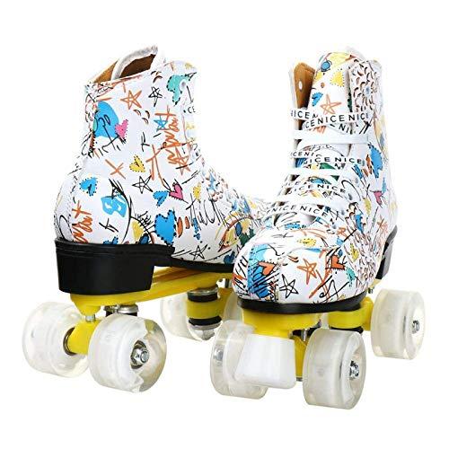 litulituhallo Womens Graffiti Roller Skates with Shiny Four Wheel Classic High Top Adustable Pu Leather White White Flash