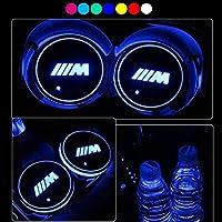 YenCar 車用 LED ドリンクホルダー レインボーコースター 車載 ロゴ ディスプレイライト LEDカーカップホルダー マットパッド (BMW-M)