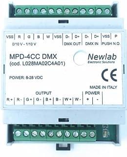 Dimmer RGB + W DMX Barra DIN salida de corriente Made in Italy