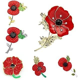 Wyhui Fashion Royal British Legion Brooch Diamante Crystal Poppy Flower Brooch Pins 3