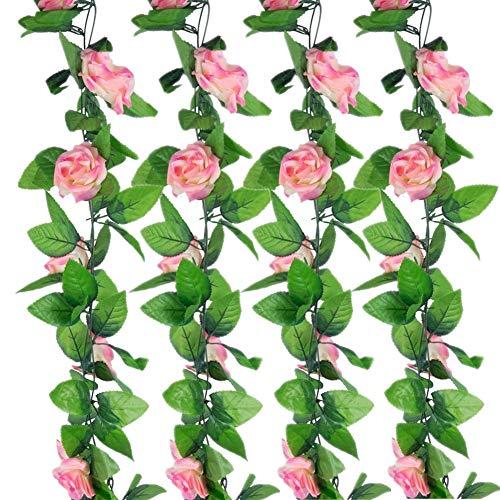 Sleipmon 4 Pack 30 FT Rose Garland Fake Rose Vine Flowers Plants Artificial Flower Home Hotel Office Wedding Party Garden Craft Art Decor, Champagne Pink