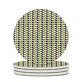 Posavasos de cerámica para jardín, diseño de hojas elípticas en ramitas para bebidas, protección de mesa para cualquier mesa