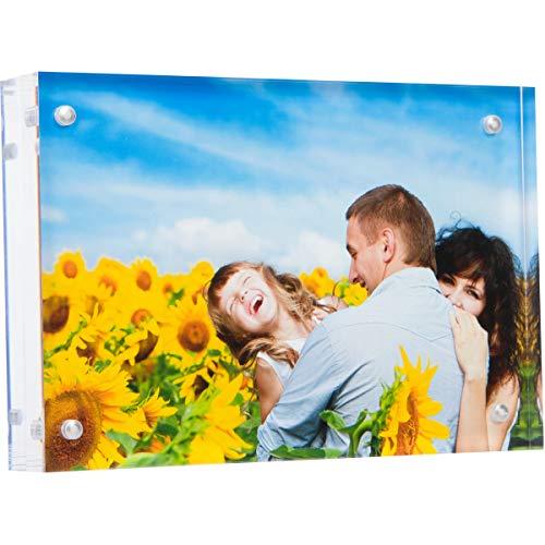 Marco de fotos acrílico de doble cara, marco magnético de 24 mm de grosor, marco de fotos transparente, 10 x 15 cm, moderno y autónomo para computadora (1 unidad)