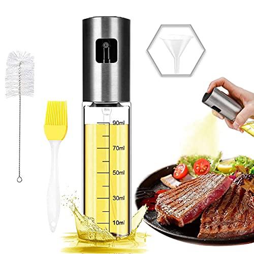 Olive oil sprayer for cooking, 100ml oil sprayer mister, food-grade glass oil spray bottle, olive oil spray for bbq/making salad/baking/frying kitchen
