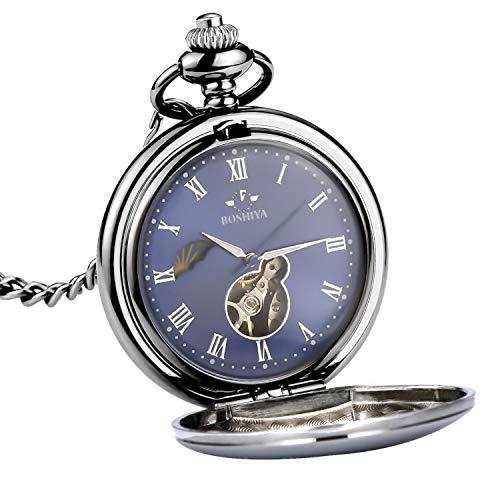 スチームパンク ビンテージ 懐中時計 ステンレススチール 昼夜機械 懐中時計チェーン L ブルー