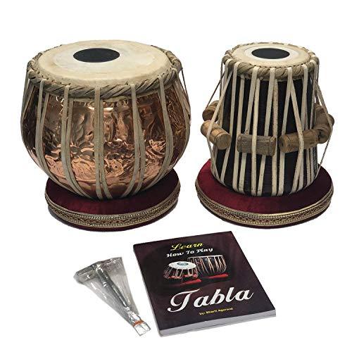 Student Tabla Set Hammer PDI-IB Cushions /& Cover Perfect Tablas for Students and Beginners on Budget Steel Bayan Indian Hand Drums Tabla Drums Dayan with Book MAHARAJA Basic Tabla Set