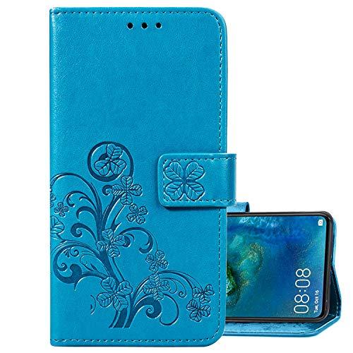 LEMORRY Handyhülle für Huawei Y9 2019 Hüllen Tasche Ledertasche Beutel Magnetisch Stehen Cover mit Kartenschlitz Weich Silikon Schale SchutzHülle für Huawei Y9 2019, Glücks-Klee Prägung (Blau)