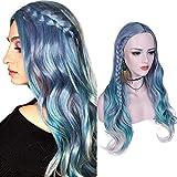 YUNSI Peluca de pelo largo ondulado, mezcla de estilos, color violeta, azul, verde, claro y gris, resistente al calor, Peluca sintética para mujeres, con raya en el medio, Halloween o fiesta