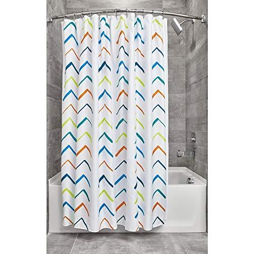 iDesign Duschvorhang, schöner Badewannenvorhang in 183,0 cm x 183,0 cm aus Polyester, weiß/bunt
