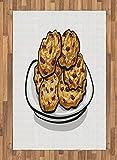 ABAKUHAUS Fiocchi d'avena Moquette Tessuta Piatta, Biscotti Fatti in casa Grafica, per Soggiorno Camera da Letto Sala da Pranzo, 120 x 180 cm, Bernstein Rotbraun