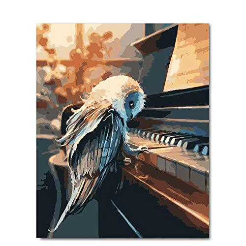 LvJin Klavier und Vogel DIY Malerei nach Zahlen Acrylfarbe nach Zahlen Handbemalte Ölgemälde auf Leinwand für Wohnzimmer Wandkunst, Malerei 40 * 50CM