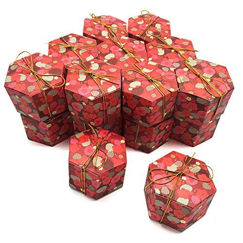 KICAN 20個入り 六角形 キャンディボックス かわいい ギフトボックス ラッピング袋 キャンディボックス 紙 チョコレート お菓子箱 包装箱 母の日のプレゼント 結婚式 誕生日用ボクス 7.5 X 7.5 X 5.5 cm 赤い