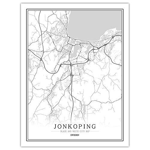 SKLHSIL Tryck duk, Sverige Jonkoping stadskarta enkel svart vit minimalistisk modern konst affisch bild väggmålning målning kontor vardagsrum hem sovrum rymd dekoration nordisk stil 40 x 50