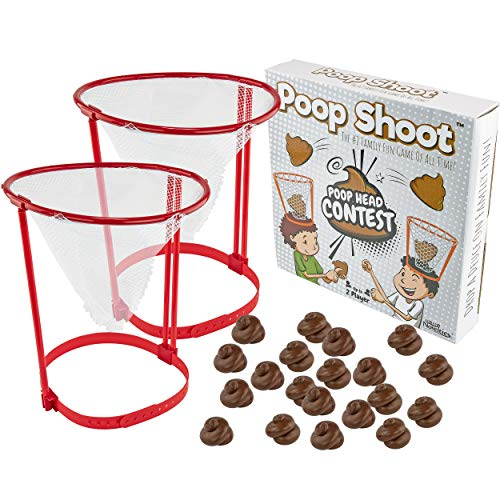 Fairly Odd Novelties Poop Shoot! Head Hoop Contest! The Hilarious White Elephant Gag Gift for Poop Emoji Enthusiasts Funny Crazy Unique Poop Game