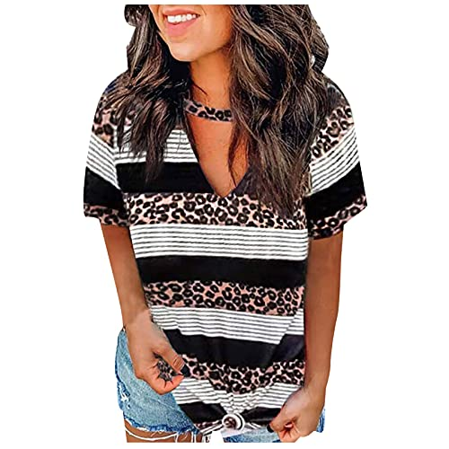 XUNN Camiseta de manga corta para mujer, cuello en V, patchwork, estampado de leopardo y rayas, estilo informal, rojo, XL