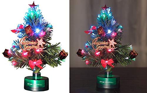 PEARL LED Weihnachtsbaum klein: LED-Weihnachtsbaum mit Glasfaser-Farbwechsler (Mini Weihnachtsbaum fürs Auto)