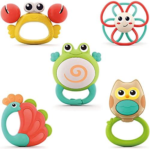 WISHTIME Rassel Beißring Set Baby Spielzeug - Shaker Greifen Rassel ab 3 6 9 12 Monate Baby Kleinkind Spielzeug Frühe Lernspielzeug für Jungen Mädchen Baby Geschenke
