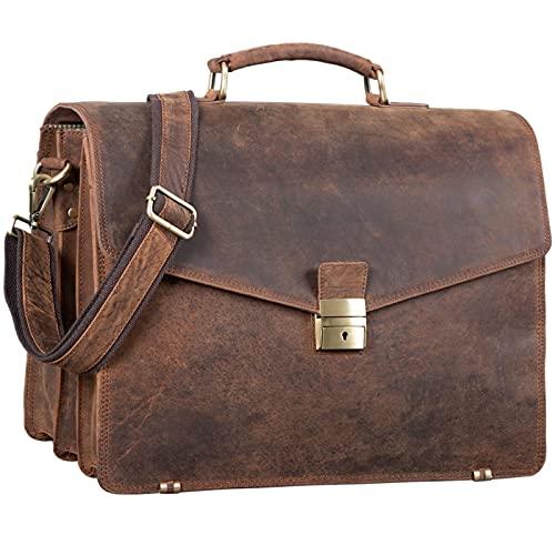 STILORD \'Morpheus\' Aktentasche Leder Groß Herren XXL Businesstasche riesige Lehrertasche mit Laptopfach Dokumententasche mit Schloss Umhängetasche Echtleder, Farbe:Polo - braun