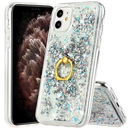 Hancda - Carcasa para iPhone 11, diseño de purpurina líquida, parte trasera de plástico transparente de silicona TPU, con soporte de anillo y soporte para teléfono, plateado