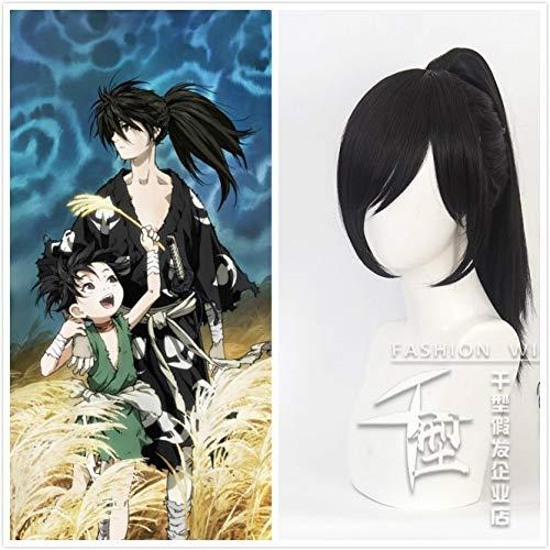 Anime Dororo Hyakkimaru Kimono Cola de caballo Negro Largo Resistente al calor Pelo sinttico Cosplay Prop Halloween + Gorra de peluca gratis