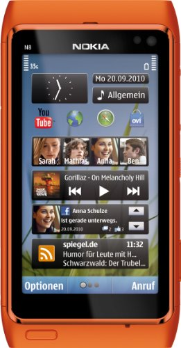 Nokia N8 Smartphone (8.9 cm (3.5 Zoll) Bildschirm, Touchscreen, WiFi, 12 Megapixel kamera) orange