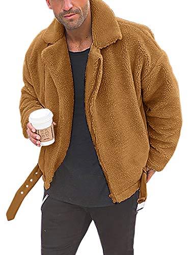 Pxmoda Herren Winterjacke Felljacke Teddy Fleece Jacke Steppjacke Übergangsjacke Vintage Bomberjacke(PX-1393-J) Braun M