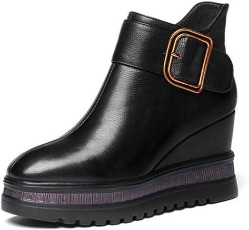 CBDGD CBDGD Chaussures Bottes pour Les Les dames, Bottes d'hiver de Neige pour Les Les dames de Mode pour Les Les dames Coussin à Pied en Cuir de Cuir Chaud Doubleure Confort décontracté chaussures Chaussures Plates Talons Hauts