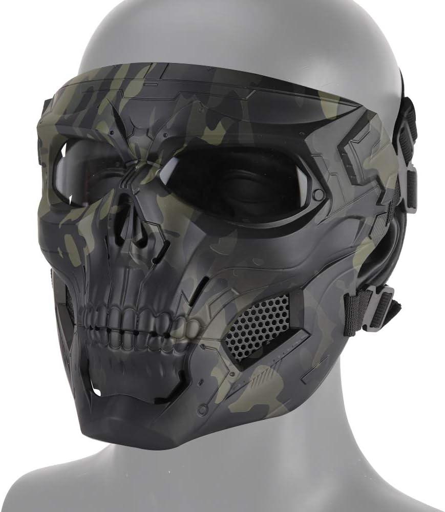 DETECH Paintball Casco Táctico Cráneo Mascarillas Transpirables Tiro Caza Mascarillas Hombres Cara Completa Airsoft Militar Halloween Fiesta Máscara