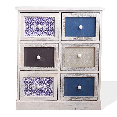 Rebecca Mobili Comodino Cassettiera Bianco Grigio Azzurro Legno 6 Cassetti Shabby Cucina Soggiorno - 70 x 60 x 30 cm (H x L x P) - Art. RE6083
