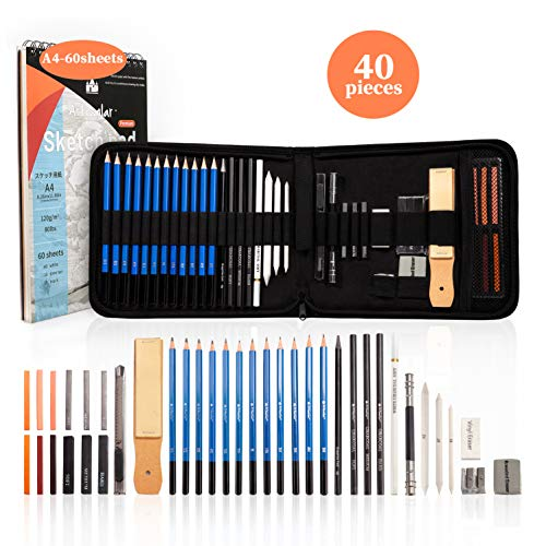 Premium 40-piece Sketching Pencil Set, Includes 60-Sheet Three Color Sketch Pad, Graphite Pencils, Charcoal Pencils, Skin Tone Color Sticks, Professional Drawing Art Kit for Kids, Adults, Artists.