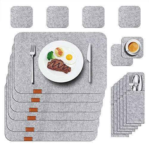 NA Felt Placemats Set of 6 for Dining Table, Washable Noble Place Mat with Felt Coasters Cutlery Pouch, Wipeable Table Mat, Heat-Resistant Non-Slip (Anthracite) (Set of 6)