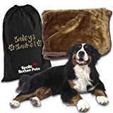 Spoilt Rotten Pets Chocolate 200cm x150cm Extra Large Furry Bear Hug Dog Blanket With A Personalised Doggy Overnight Bag
