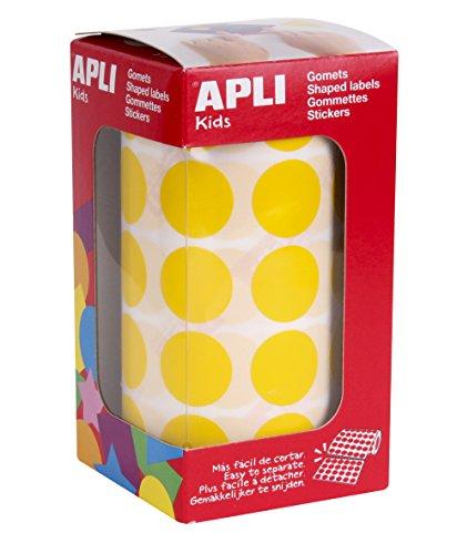 APLI Kids - Rollo de gomets redondos 20,0 mm, color amarillo