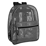 Mesh Backpacks for Kids, Adults, School, Beach, and Travel, Colorful Transparent Mesh Backpacks with Padded Straps (Grey)