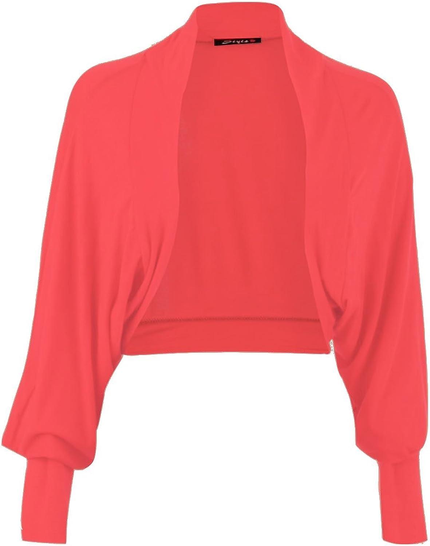 Forever Womens Long Batwing Sleeves Plain Front Open Bolero Shrug Top