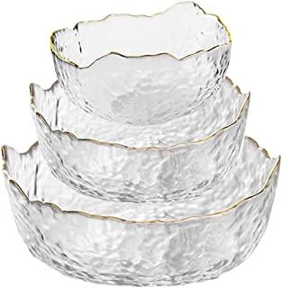 3Pcs Crystal Glass Mixing Bowl Set, Stackable Transparent Salad Serving Bowls with Gold Wave Side Edge, for Popcorn Snack ...